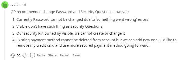 User complaining about unenforceable Visible protection guidelines