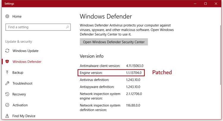 Patched Microsoft Malware Protection Engine