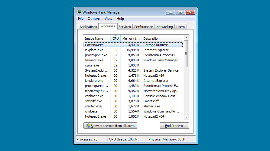 Cortana.exe Miner running in Task Manager