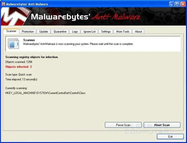 MalwareBytes Anti-Malware Scanning Screen