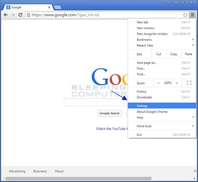 Chrome Menu Settings Option