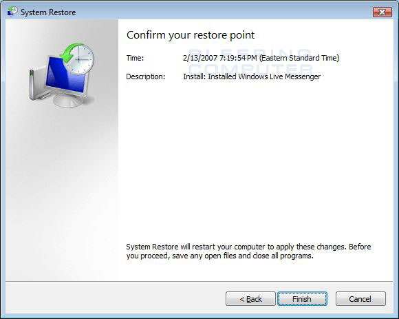 Confirm the selected restore point