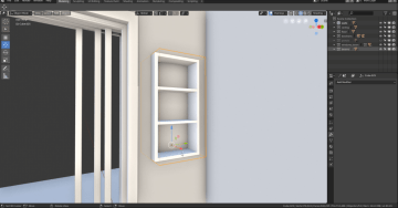 Built-in shelves using booleans.