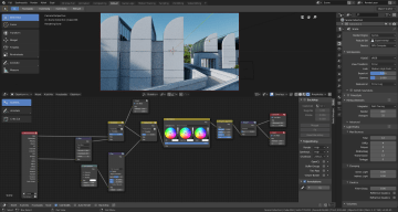 The render settings and postprocessing are shown here.