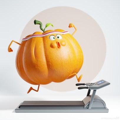 metin-seven_stylized-artistic-3d-illustrator_pumpkin-fitness-treadmill-halloween-pompoen