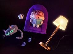 metin-seven_stylized-artistic-3d-illustrator_childrens-book-reading-cat-dreamer