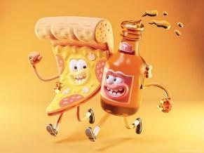 metin-seven_stylized-artistic-3d-illustrator-cartoon-character-designer_pizza-slice-beer-bottle