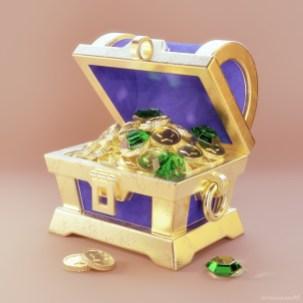 metin-seven_realistic-3d-illustrator-visualizer_stylized-treasure-chest-coins-gems-emeralds_JPG