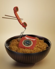 oh no ! There is a thelephone in my noodles