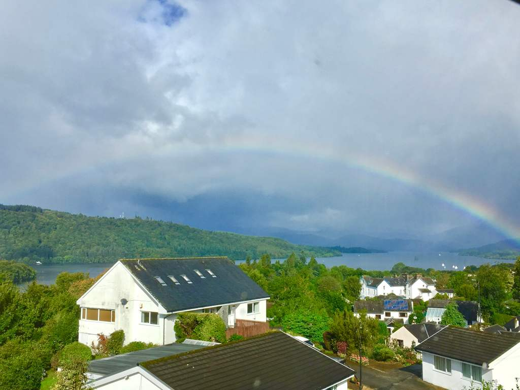 Rainbow over Lake Windermere taken from bedroom at Blenheim Lodge B&B, Bowness.