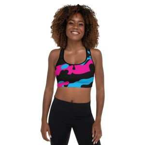 Blerd Camo Padded Sports Bra Front