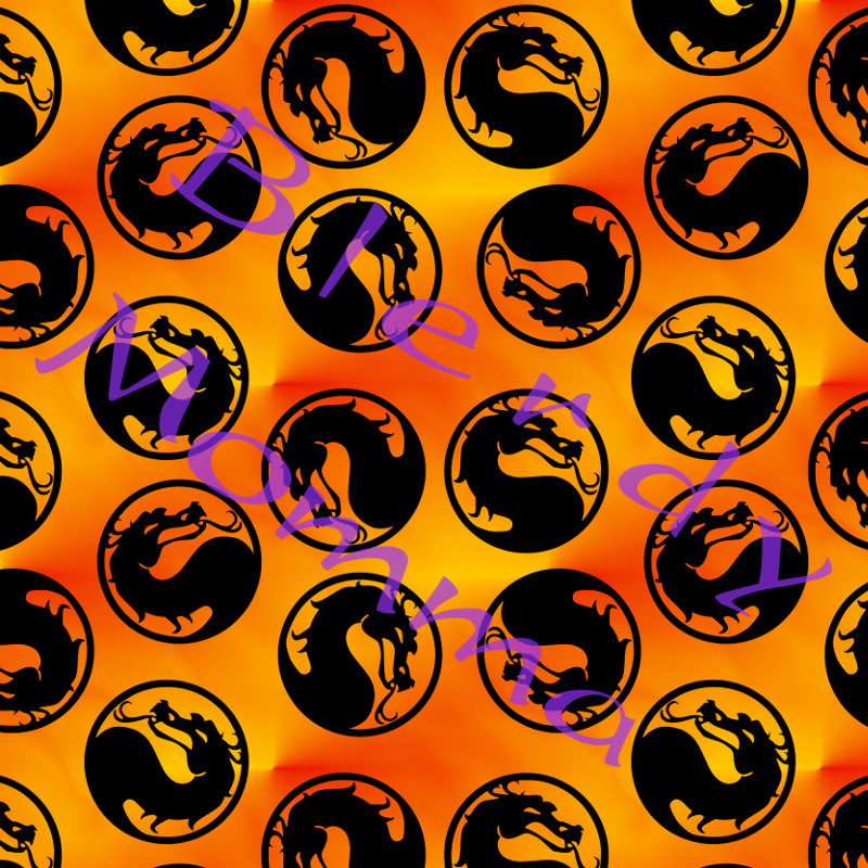Mortal Kombat dragon fabric