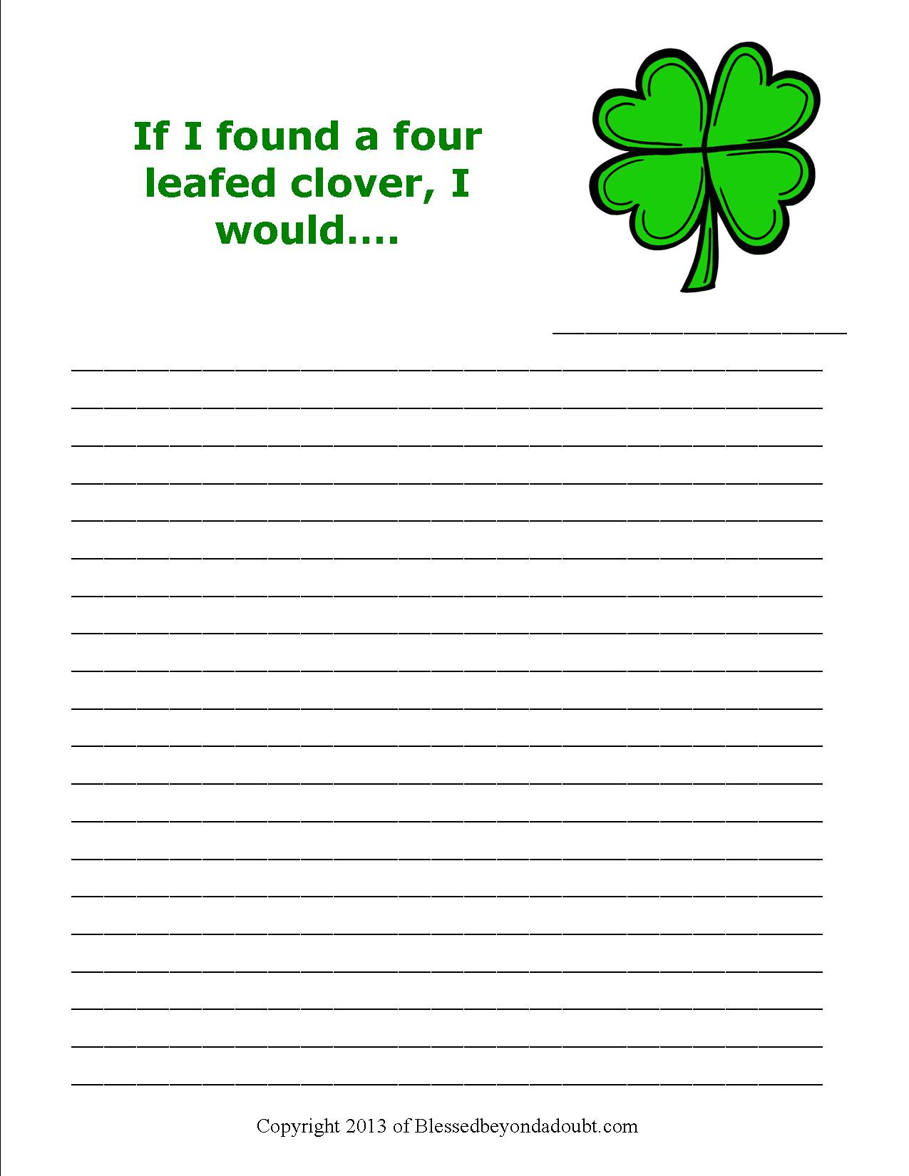 Free St Patrick S Day Writing Prompts Super Cute