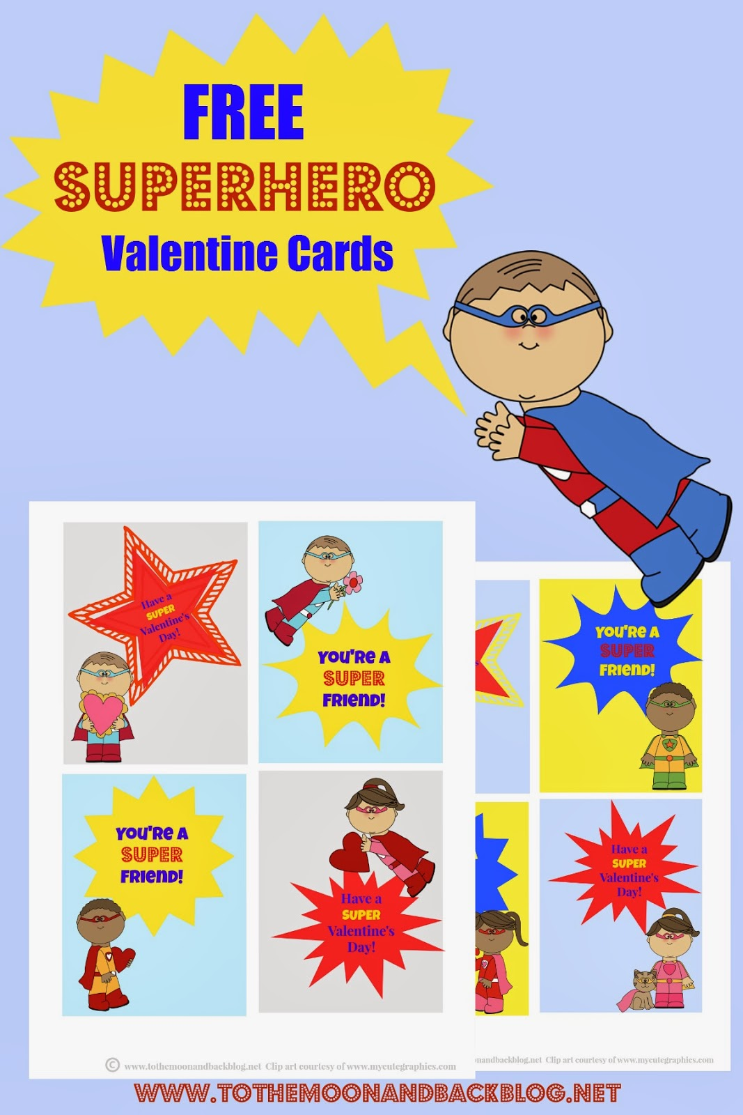 Printable Superhero Valentines