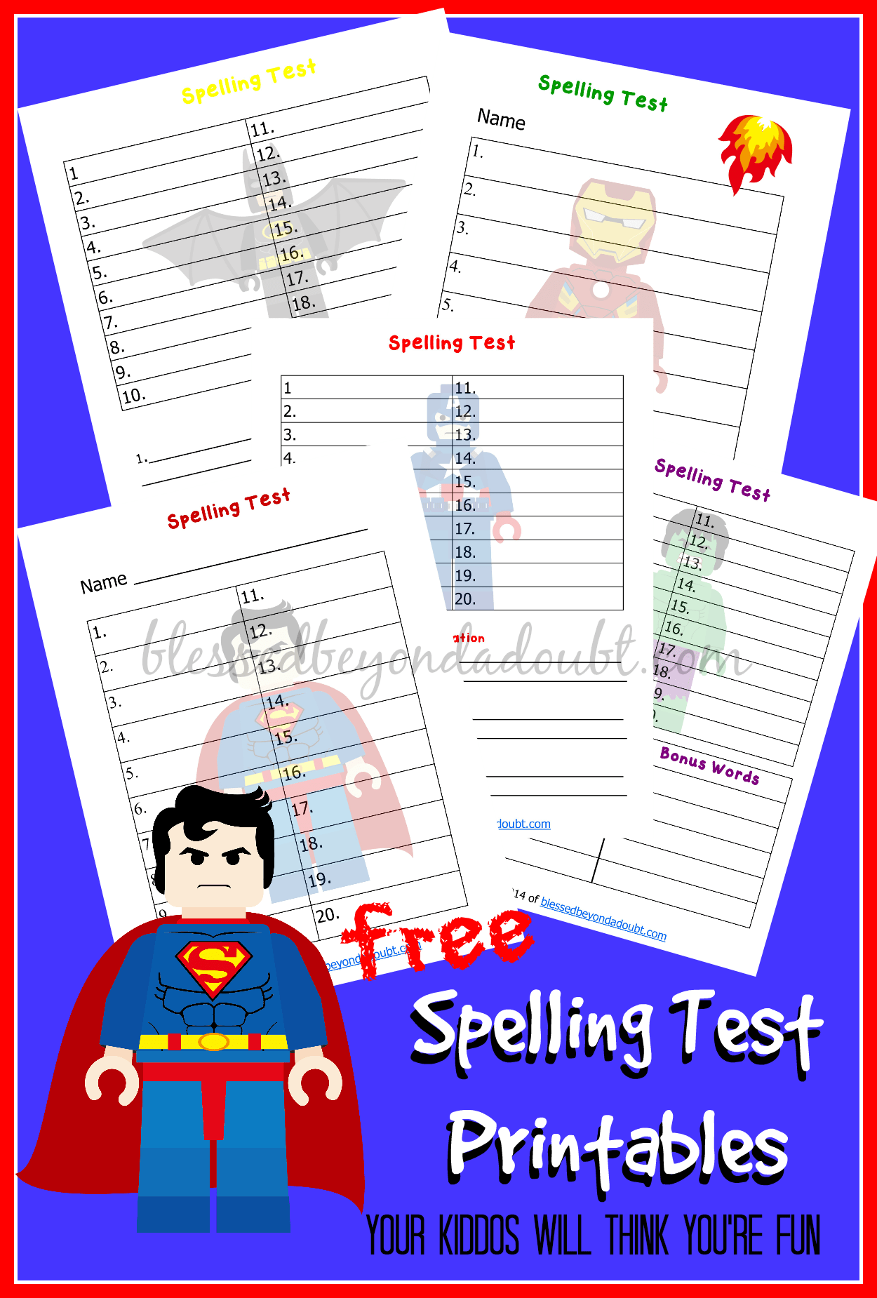 Free Lego Spelling Test Printables
