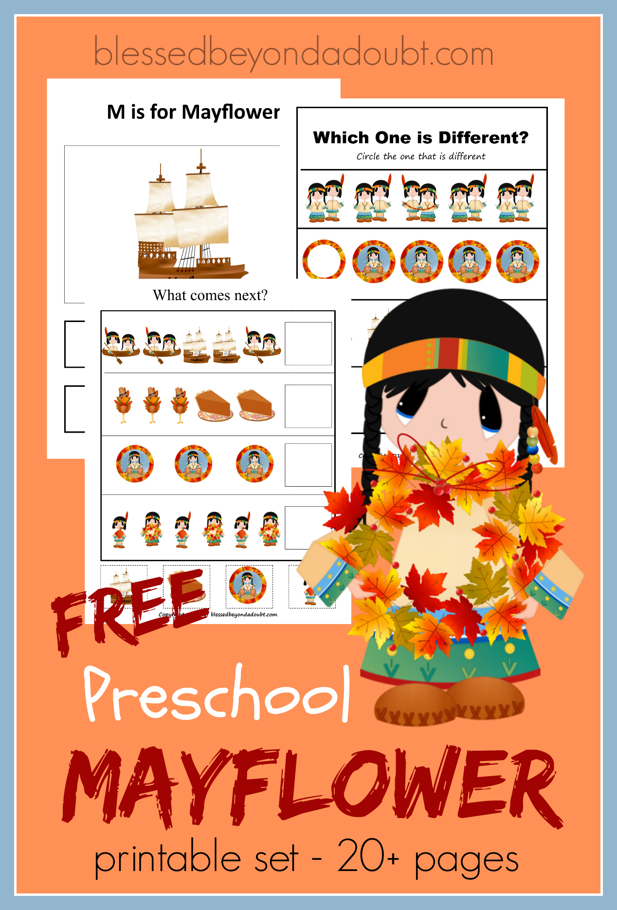 Free Mayflower Preschool Pack Fun For Thanksgiving