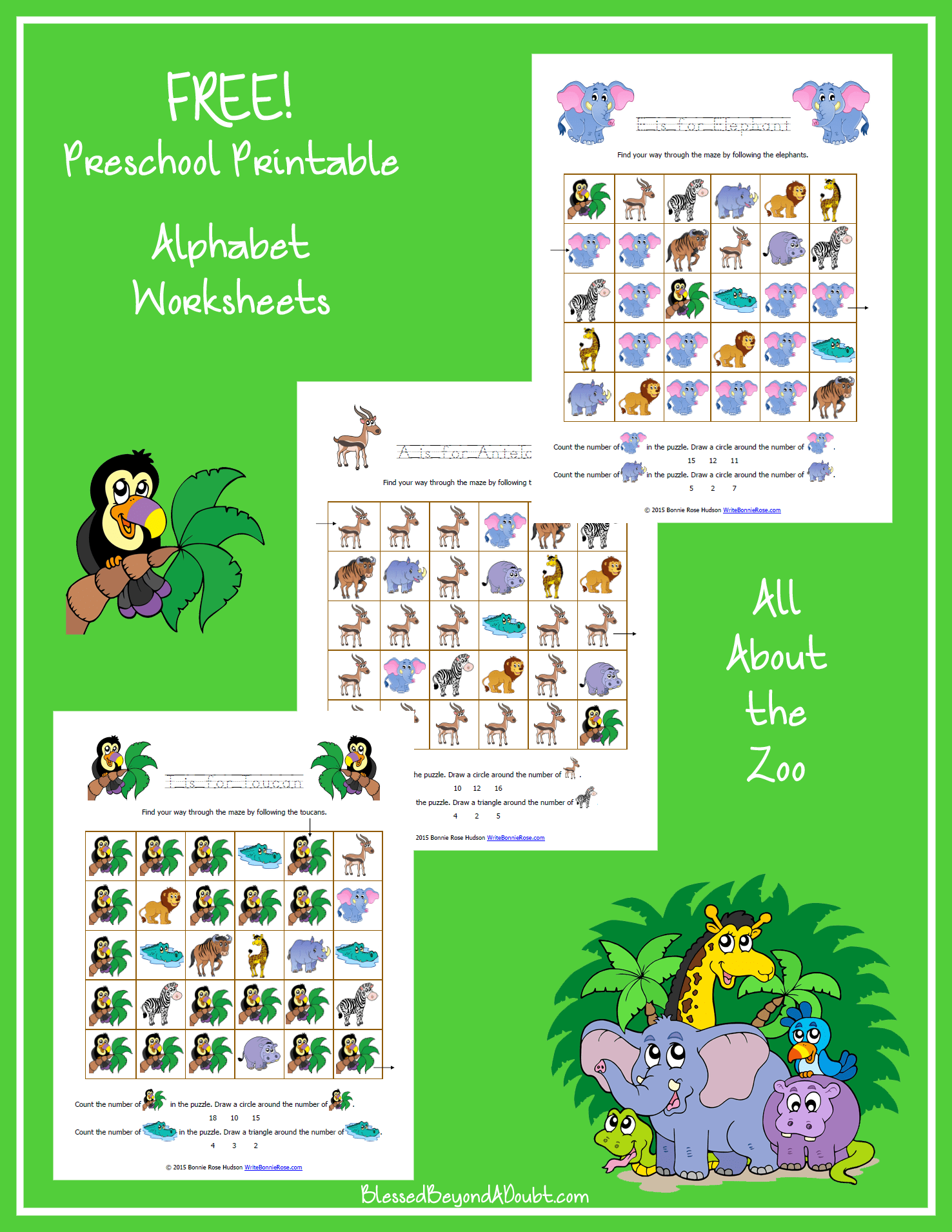Free Zoo Themed Printable Alphabet Worksheets For Preschool