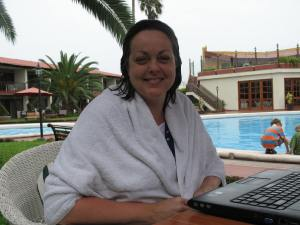 Carol dries out after rescuing a girl from drowning in Trujillo, Peru in 2010.