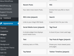 Screen shot of Jetpack's Sidebar Widget Configuration Page