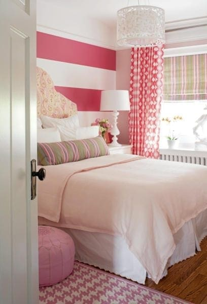 Home run! Love the potpourri of patterns, love the color palette, love the horizontal stripes, love the semi-flush light on ceiling. Perfect transition room from young girl to teen