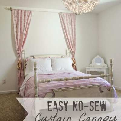 Easy No-Sew Curtain Canopy {Little Girl Bedroom Progress}