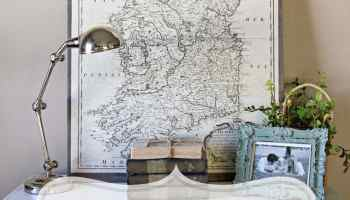DIY Vintage PullDown Map Blesser House - Us vintage map with dowel