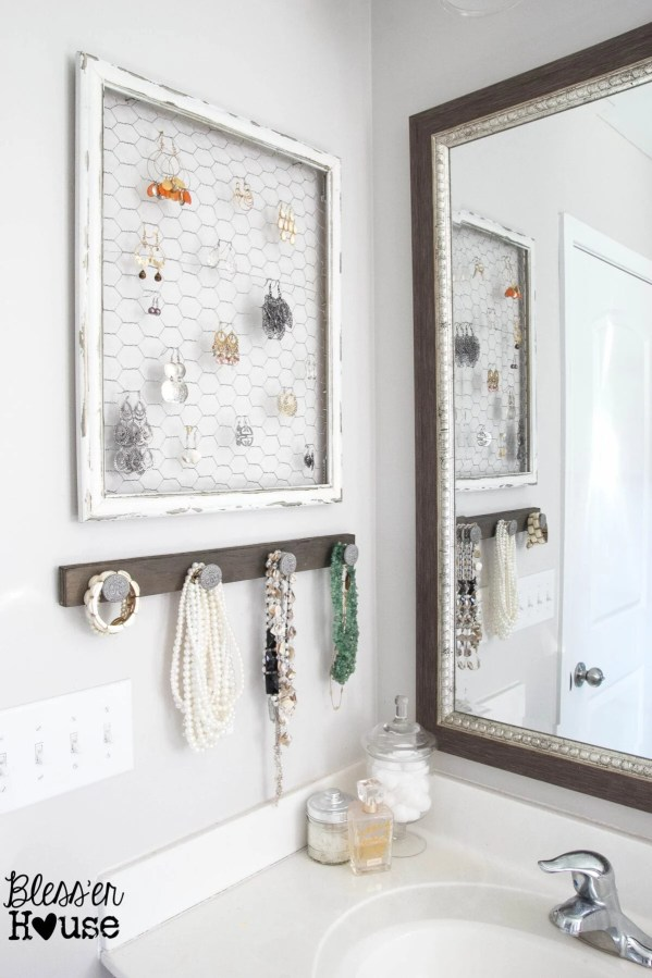 DIY Rustic Industrial Jewelry Organizer | blesserhouse.com - Fun idea to organize jewelry using scrap items!