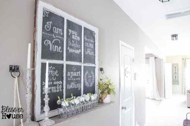 How to Make Chalkboard Hand Lettering the Easy Way & Spring Shelf Vignette | Bless'er House