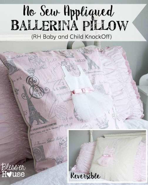 No Sew Reversible Appliqued Ballerina Pillow Restoration Hardware KnockOff | Bless'er House