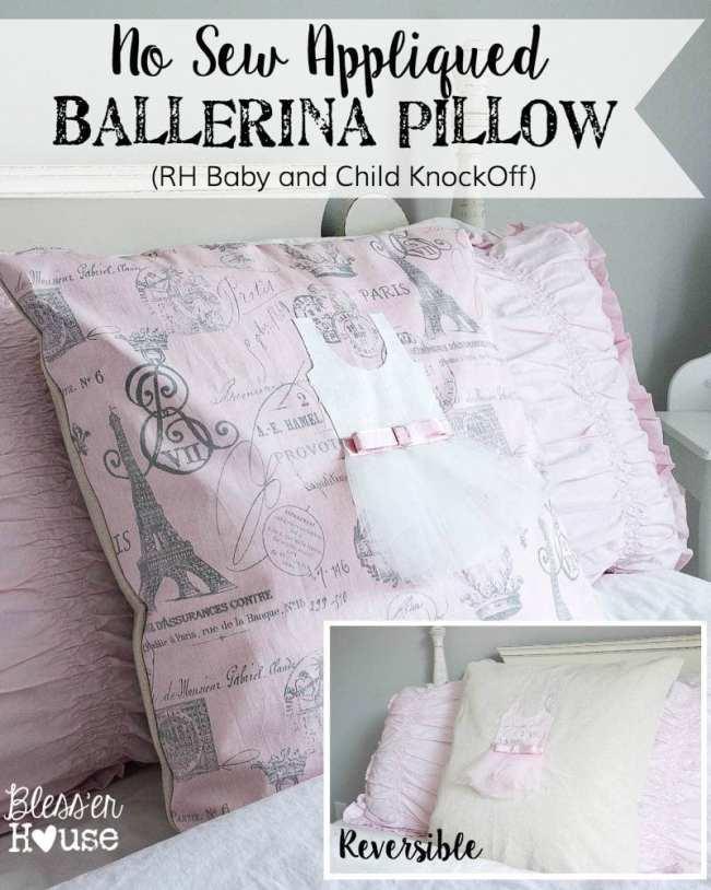 No Sew Appliqued Ballerina Pillow Restoration Hardware