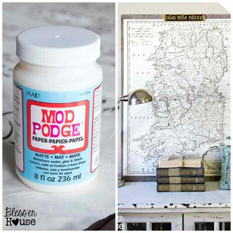 10 Must-Have Craft Supplies for Endless Money Saving Projects | Bless'er House- Make an oversized vintage map using just Mod Podge, scrap wood, and printer paper.