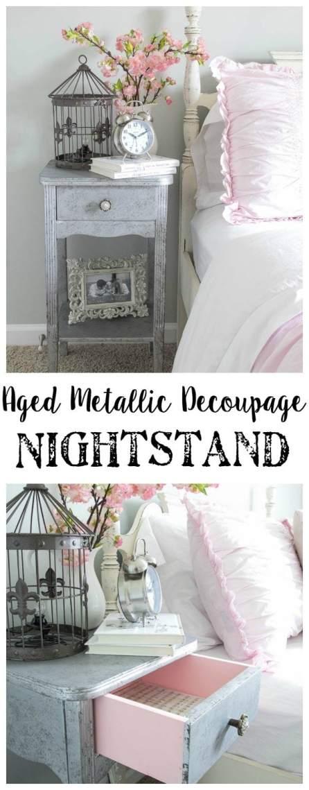 Aged Metallic Decoupage Nightstand