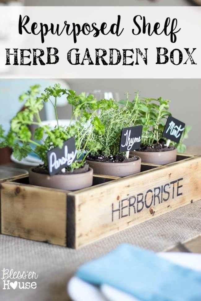 Repurposed Shelf Herb Garden Box