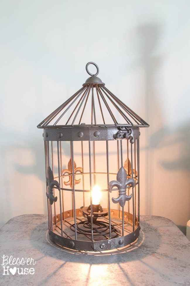 DIY Birdcage Lamp in Under 5 Minutes (No Electrical Work Required) | Bless'er House