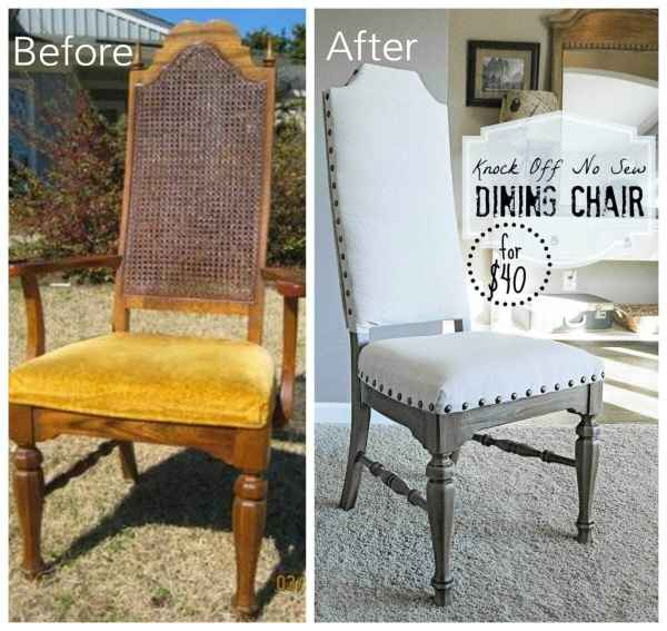 12 Goodwill Shopping Secrets Revealed | Bless'er House -- here is a before and after picture of a dining room chair I stached at Goodwill for a great price!