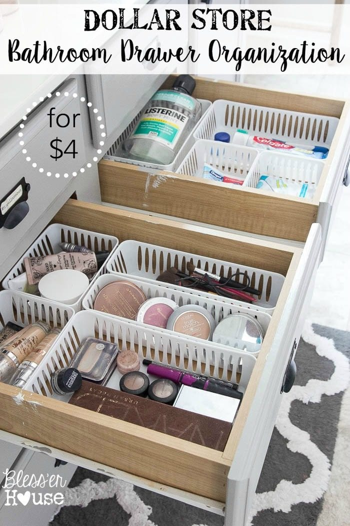 Use plastic bins to organize your bathroom drawers. Too simple!