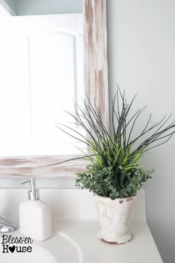 The Cheapest Resource for Bathroom Mirrors (and Bathroom Makeover Progress)   Bless'er House - That big farmhouse mirror was only $24!