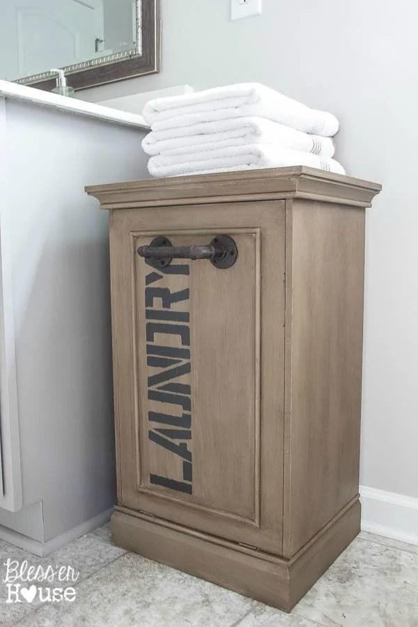 Industrial Style Laundry Hamper Makeover | Bless'er House