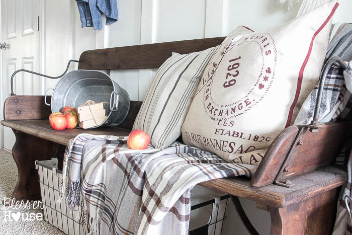 7 Ingredients to Create a Cozy Space | www.blesserhouse.com | wagon bench and fall decor