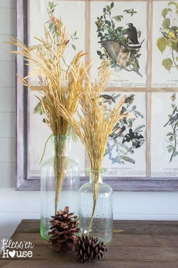 7 Ingredients to Create a Cozy Space | www.blesserhouse.com | wheat stalks in glass jars