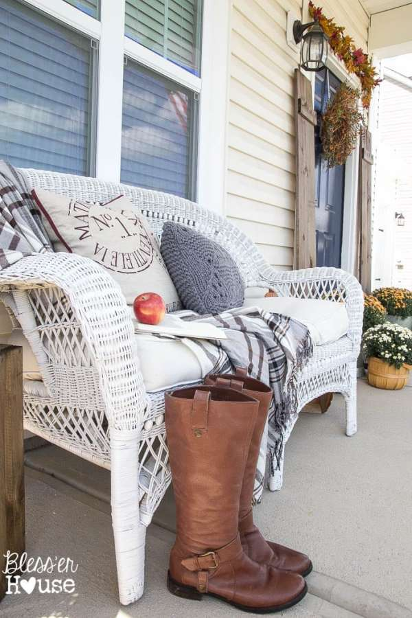 Cozy Fall Porch and a Giveaway | Bless'er House - Great ideas to bring a rustic look to a boring builder grade porch!