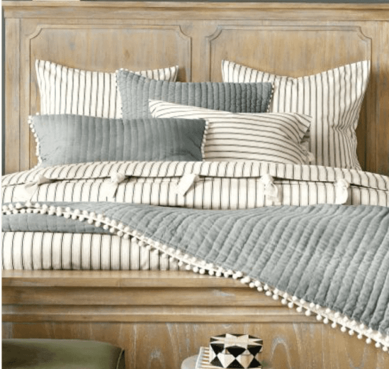 Modern Rustic Master Bedroom Design Plan | www.blesserhouse.com | ticking stripe bedding
