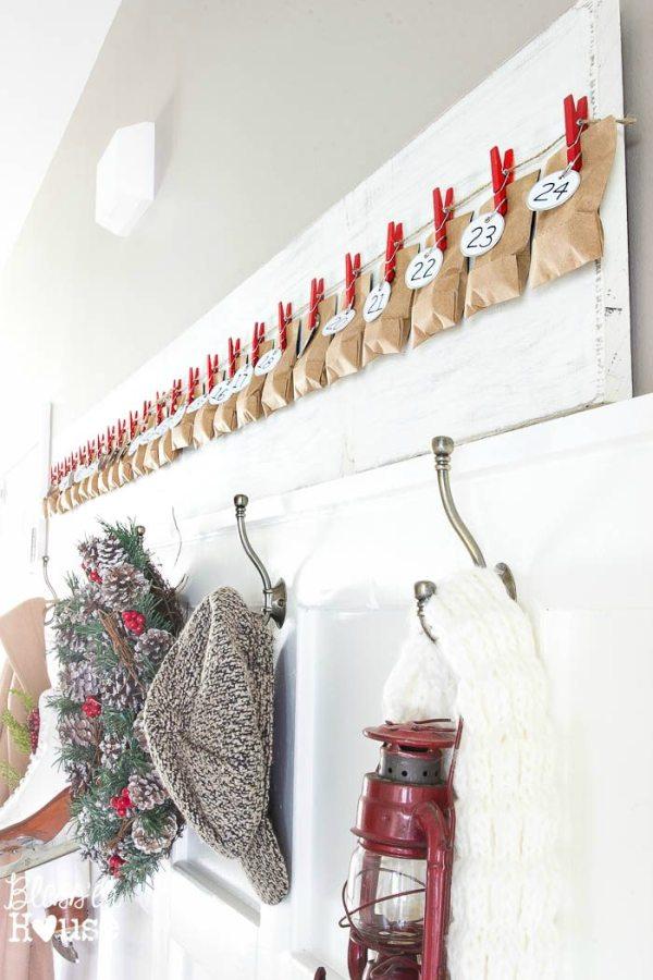 Simple DIY Clothespin Advent Calendar | blesserhouse.com