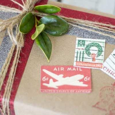 DIY Vintage Postal Gift Wrap