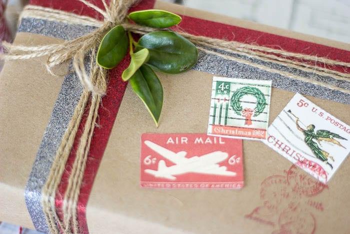 DIY Vintage Postal Gift Wrap | blesserhouse.com #craftamazing #ad
