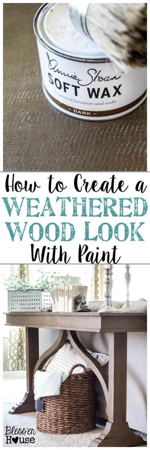 How to Create a Weathered Wood Look With Paint | blesserhouse.com - Quick and easy way to get a Restoration Hardware inspired look!