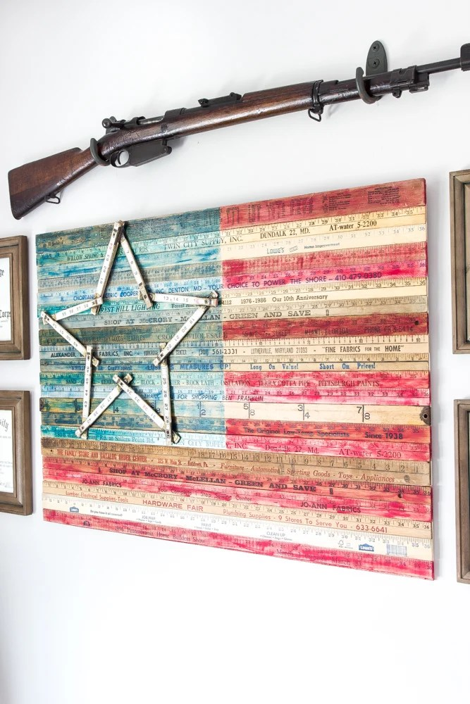 Diy Yardstick American Flag Wall Art Thrifty Under Fifty Bless Er House