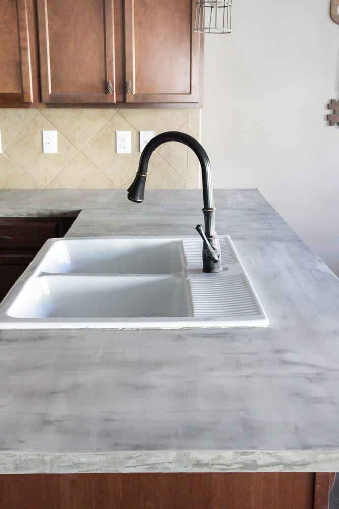 cement kitchen sink commercial faucets with sprayer diy feather finish concrete countertops bless er house and how to avoid a huge mistake blesserhouse com