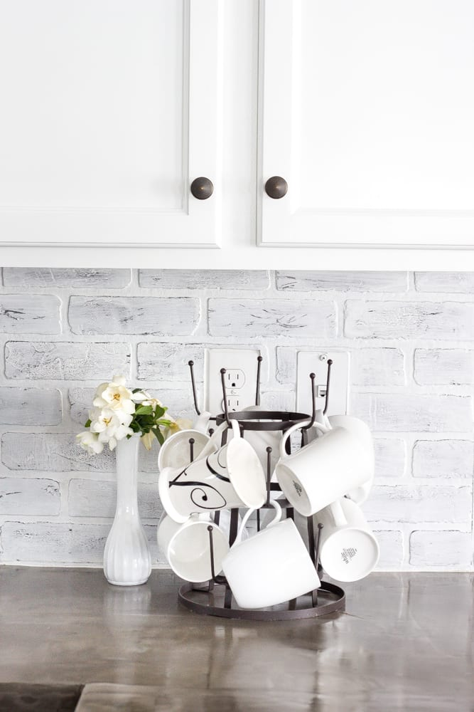 DIY Whitewashed Faux Brick Backsplash  Blesser House