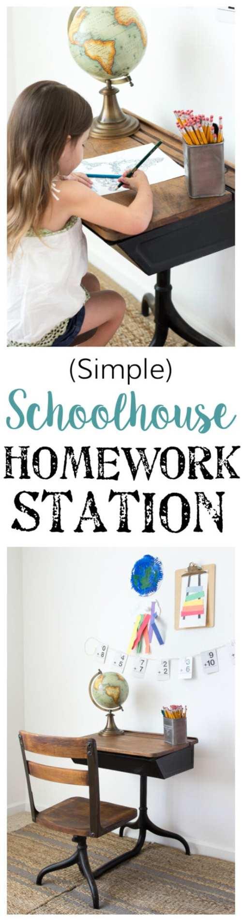Back-To-School Style Guide, Antique Schoolhouse Desk Makeover & Simple DIY Homework Station | blesserhouse.com